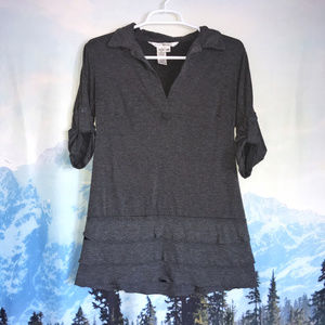 Max Studio V Neck Gray Top with Ruffles Size XS